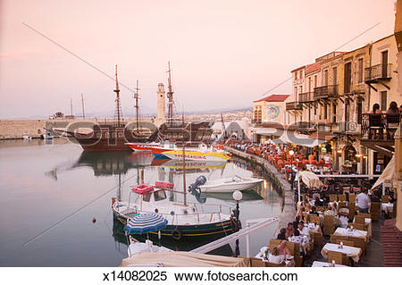 Stock Image of Greece, Crete, Rethimon, Old port x14082025.
