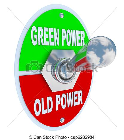 Drawing of Green vs. Old Power.