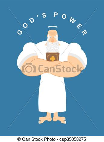 Vectors Illustration of God Powerful. Strong divine old man with.