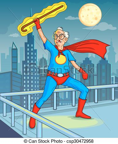 Clipart Vector of Retro style comics Superhero old man showing is.