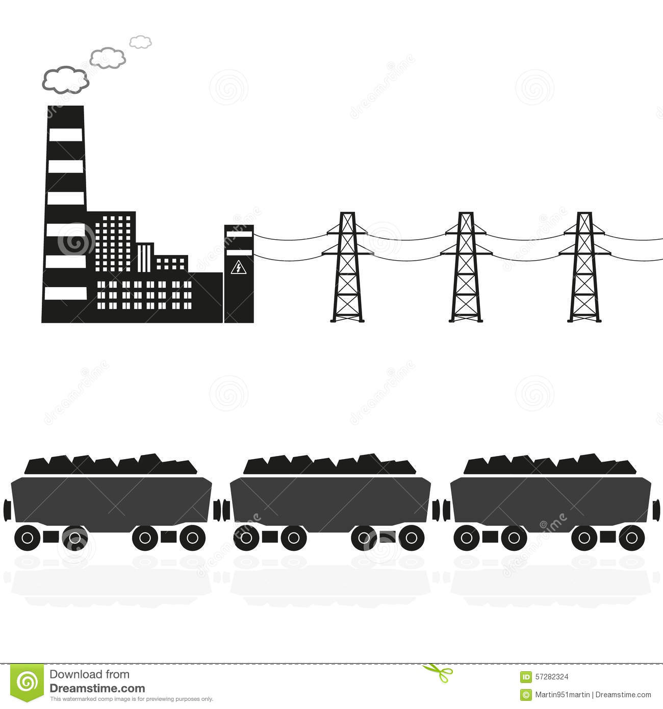 Old train with coal car clipart.