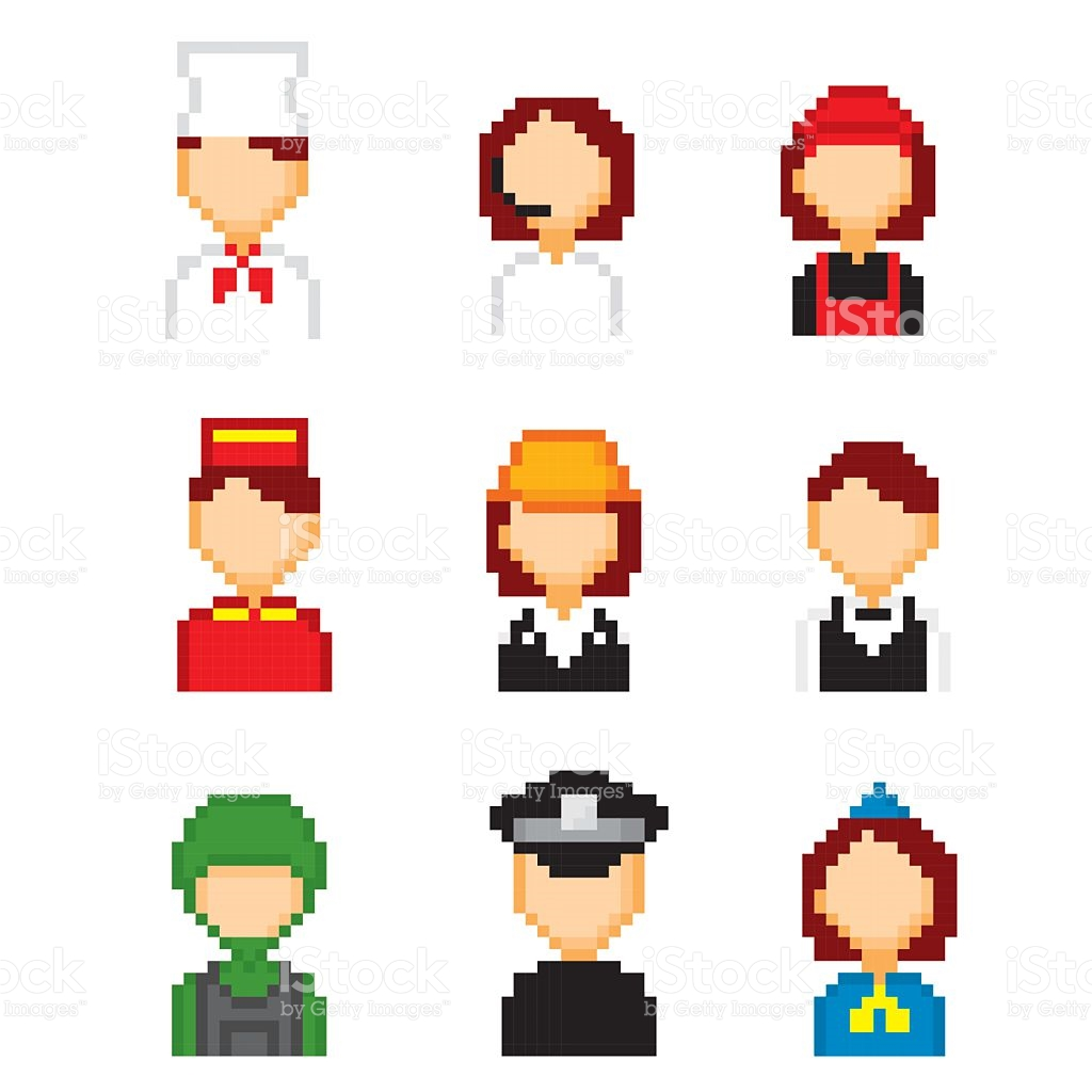 Profession Pixels Icons Set Old School Computer Graphic Style.
