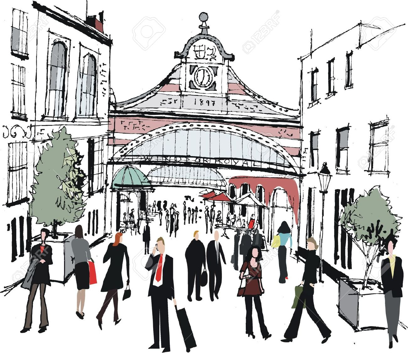 Vector Illustration Of Windsor Railway Station, England Royalty.