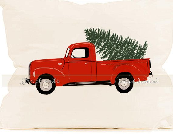 Christmas red truck Tree Wreath printable art digital.