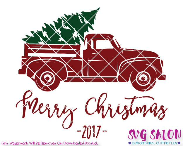 Merry Christmas Red Truck Cut File in SVG, EPS, DXF, JPEG, and PNG.