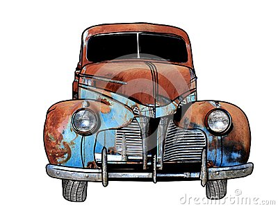 Clipart of rusting car.