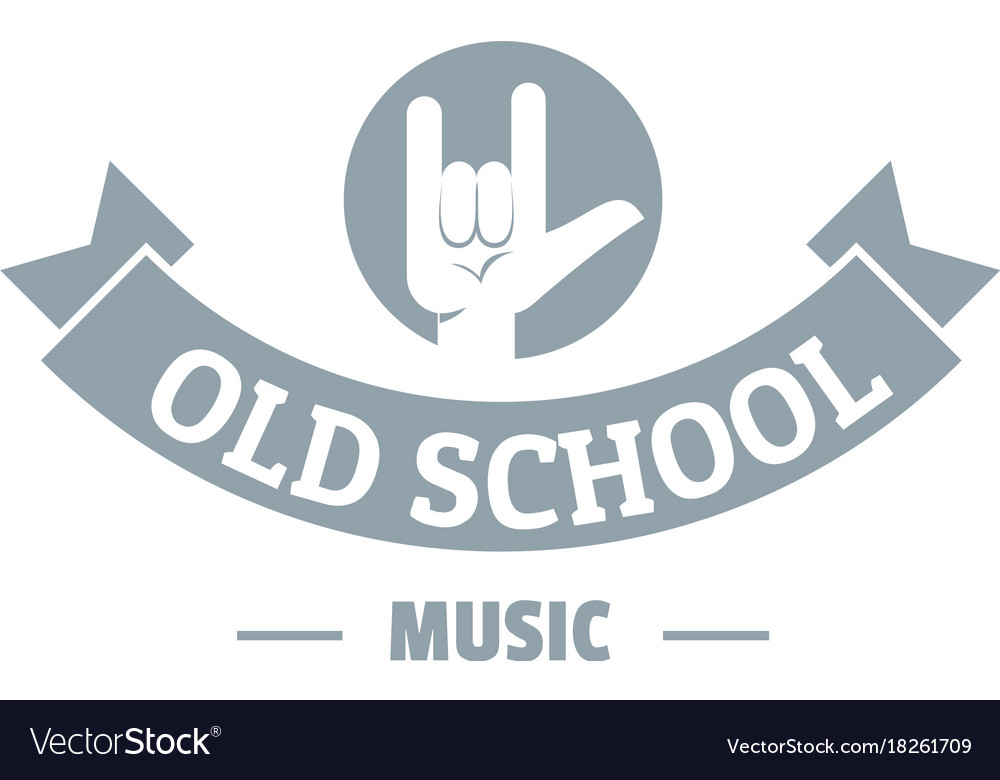 Old school music logo simple gray style.