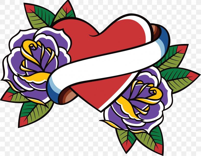 Old School (tattoo) Heart Swallow Tattoo Clip Art, PNG.