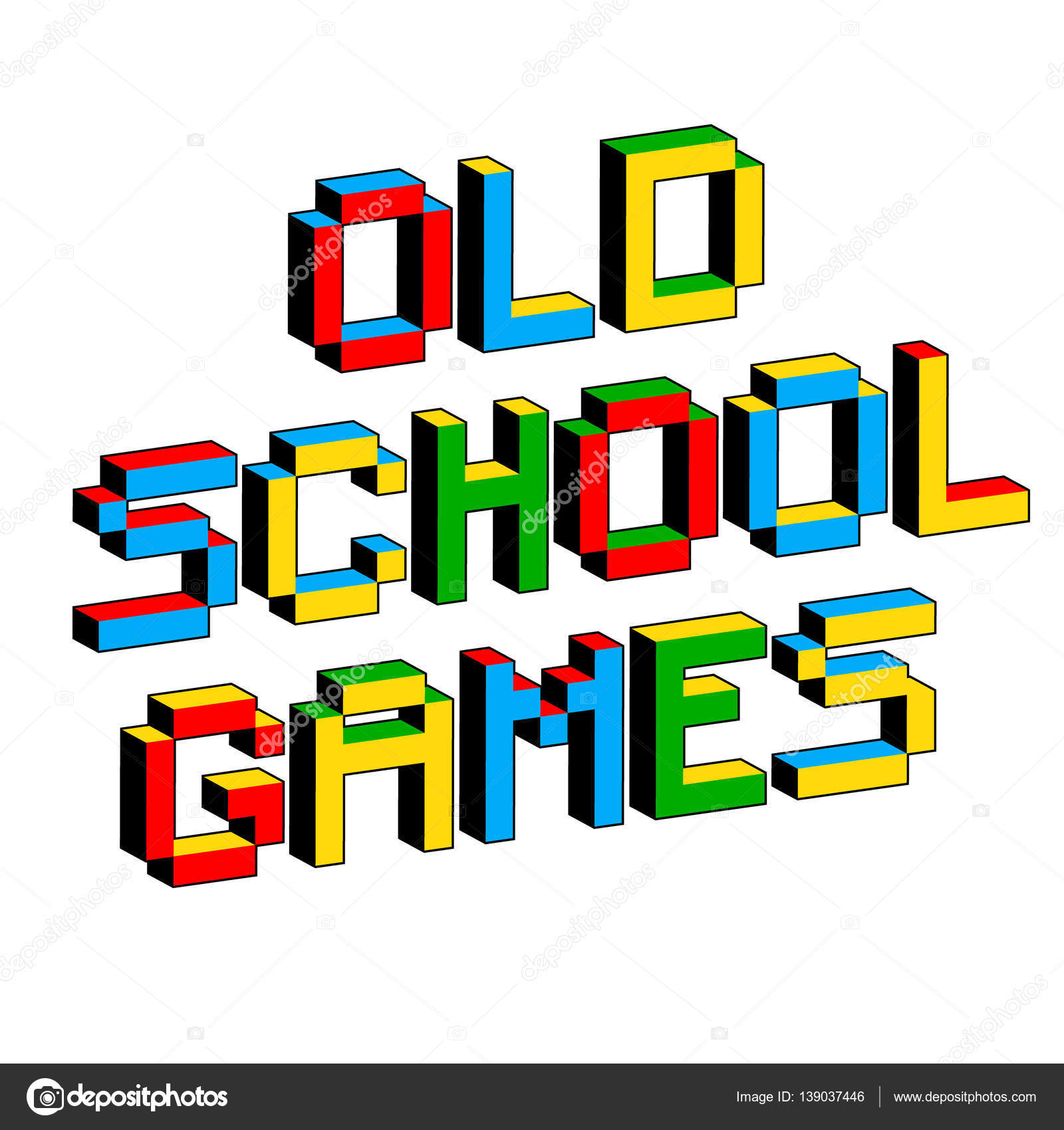 Old School Games text in style of old 8.