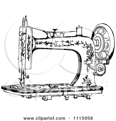 Clipart Vintage Black And White Antique Foot Crank Sewing Machine.