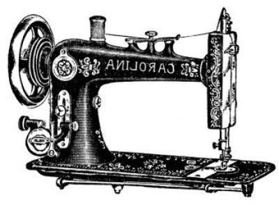 Vintage Sewing Machine Clip Art.