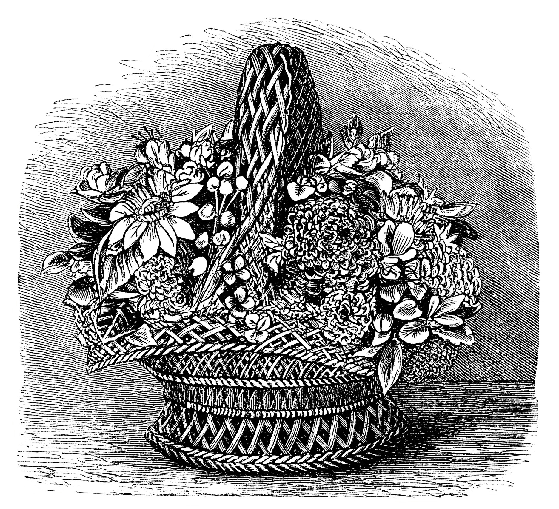 Basket of Shell Flowers ~ Free Vintage Clip Art.