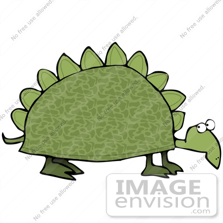 Clip Art Graphic of a Slow Old Green Dinosaur Turtle With Spikes.