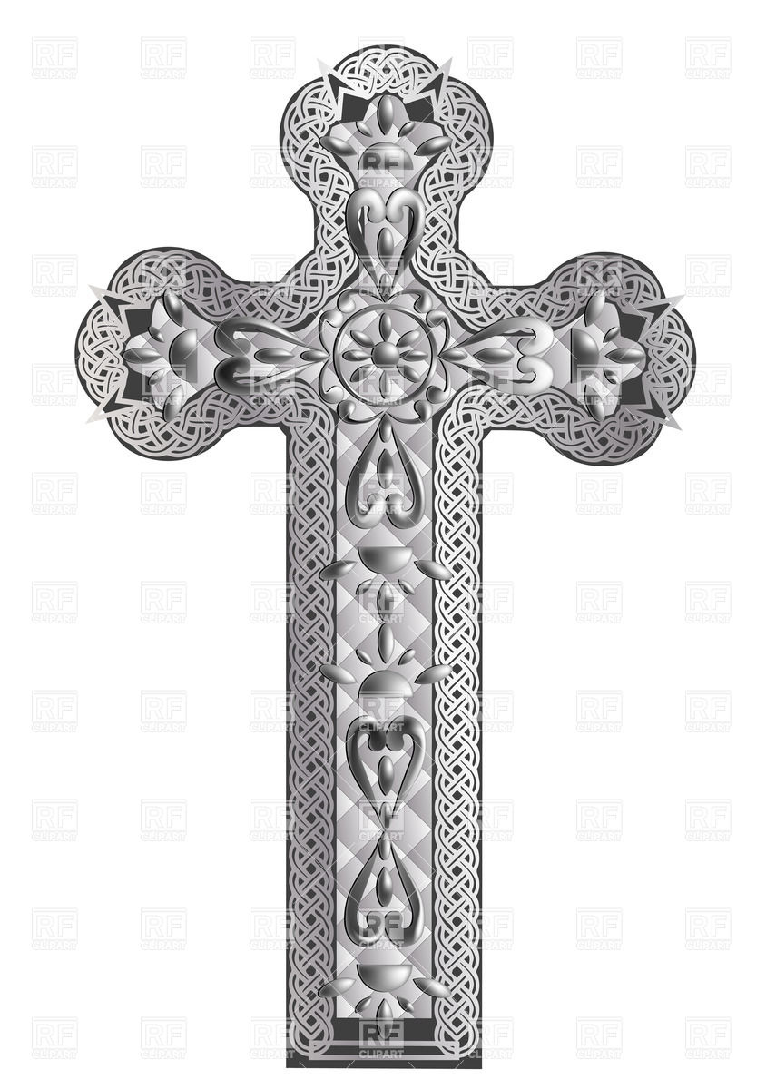 Old silver cross with ornament Vector Image #36211.