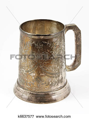 Picture of An old silver beer tankard k6637577.