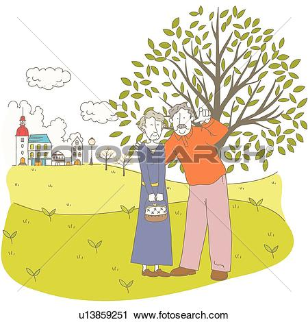 Clipart of Elderly, going out, old age, date, Dating, Silver.