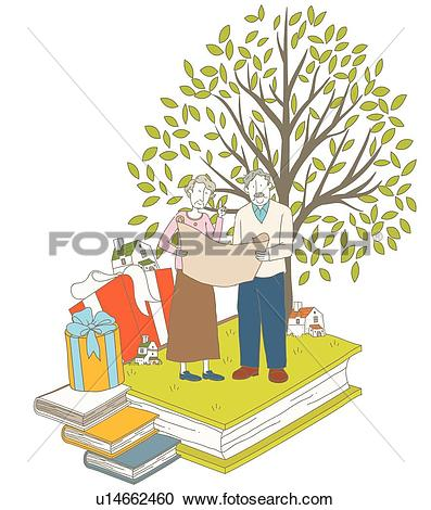 Stock Illustrations of retirement life, house, Silver, Elderly.