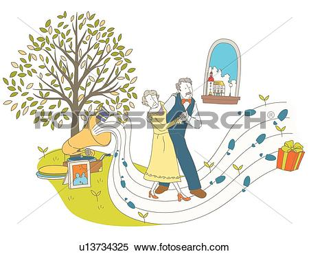 Stock Illustration of staff, Dance, Silver, Elderly, old age, Gift.