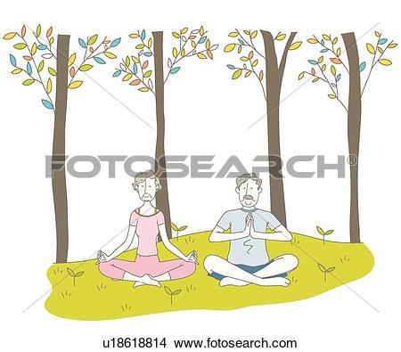 Drawings of Couple, Elderly, retirement life, forest, Silver.