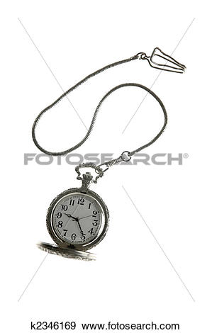 Stock Photograph of old silver pocket watch clock with chain.