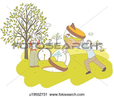 Clipart of Elderly, Hourglass, old age, clock, watch, Silver.