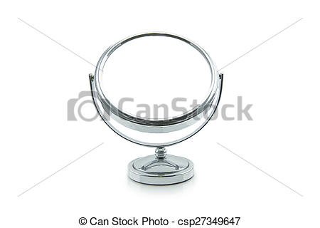 Stock Photo of Old silver makeup mirror isolated on white.