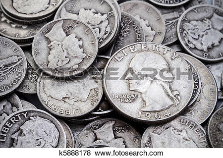 Pictures of Pile of old Silver Dimes & Quarters k5888178.