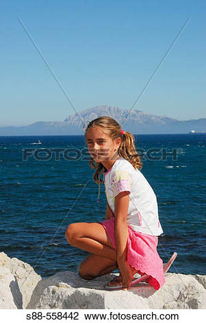 Stock Photo of 9 year old Spanish girl in Tarifa. CBdiz. Andalucia.