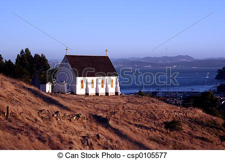 Picture of Old St. Hilary's Church with a San Francisco Backdrop.