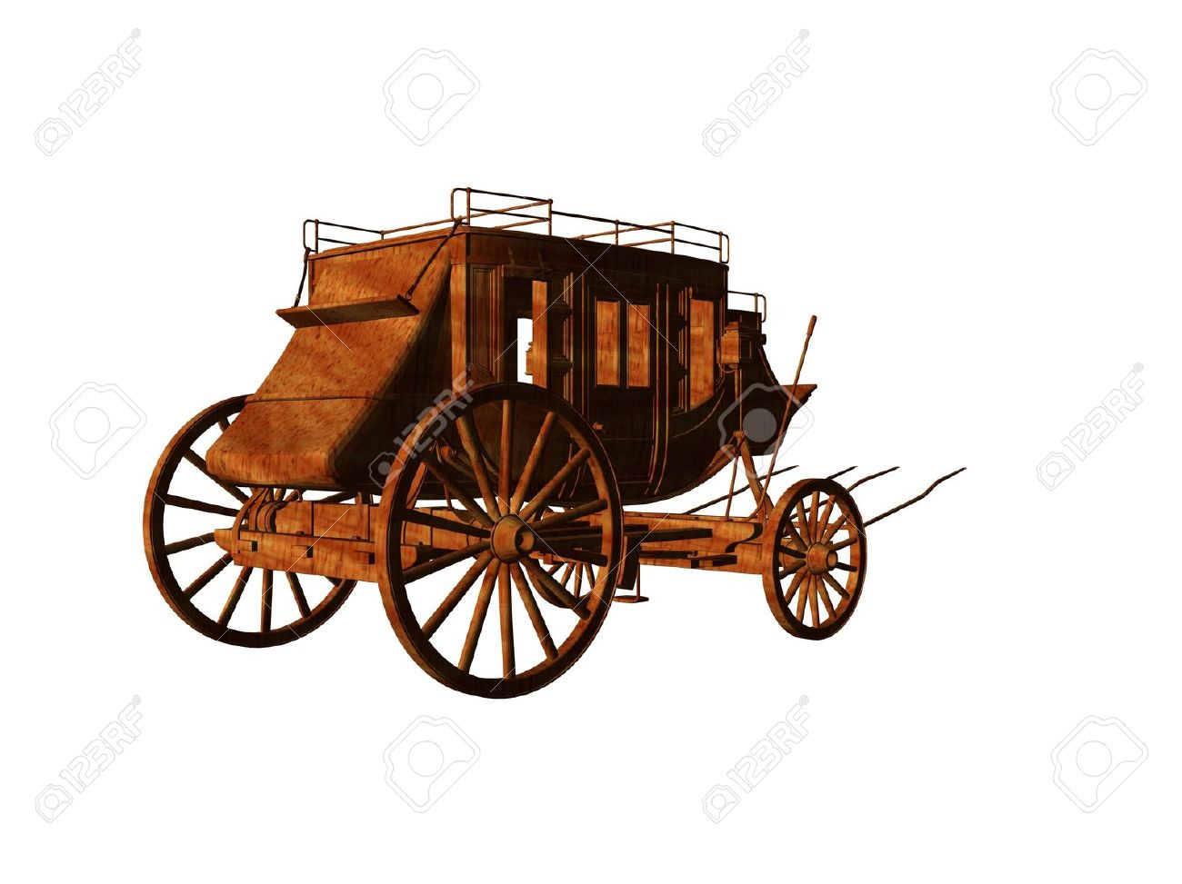 Isolated 3d Illustration Of An Old West Stagecoach Stock Photo.