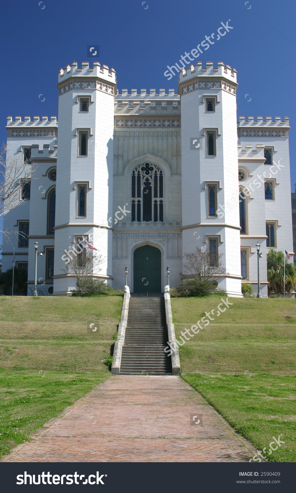 Old State Capitol Building In Baton Rouge Louisiana Front View.