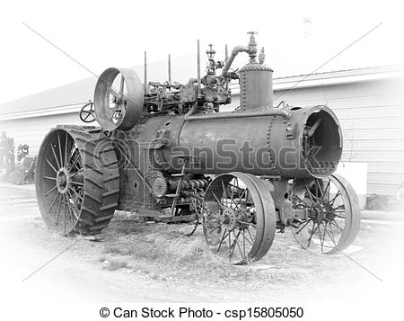 Stock Images of Old Steam Tractor.