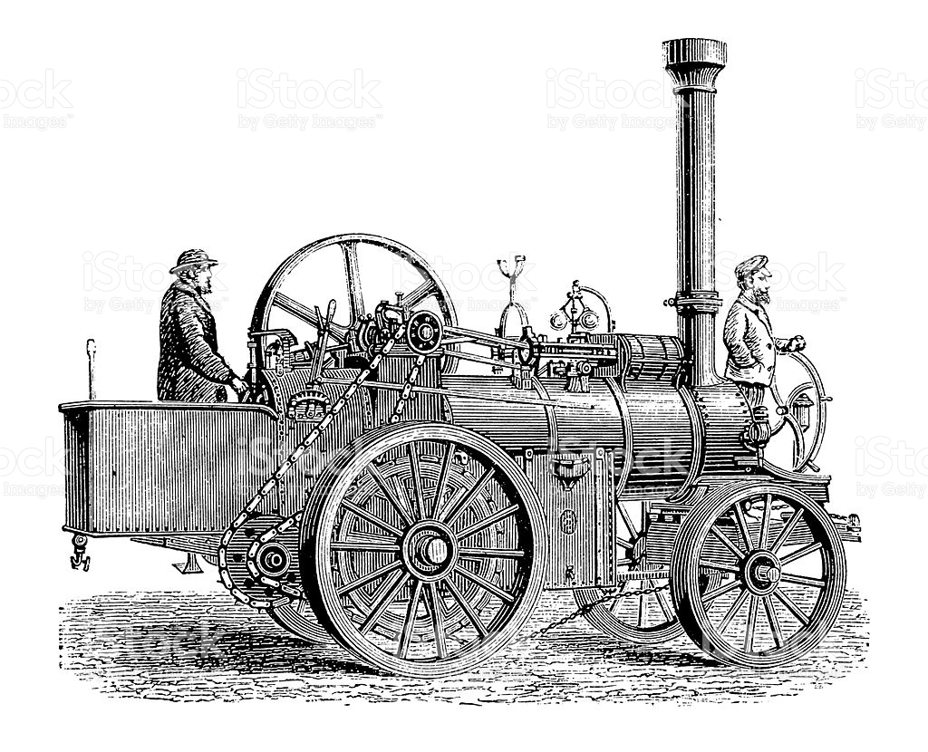 Vintage Tractor Cartoon : Old steam tractor clipart clipground