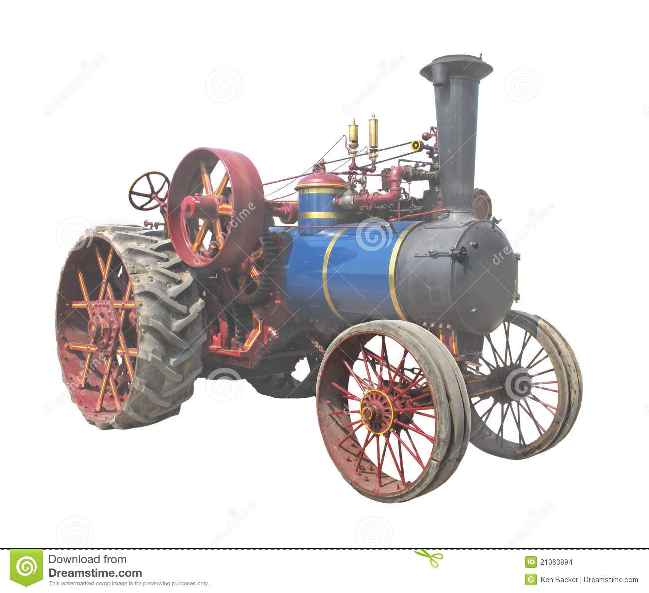 Old Steam Tractor Isolated Stock Images.
