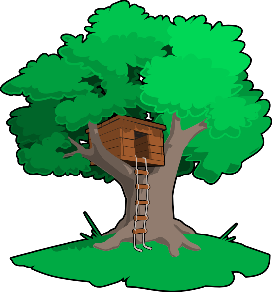 Old tree house with no steps clipart.