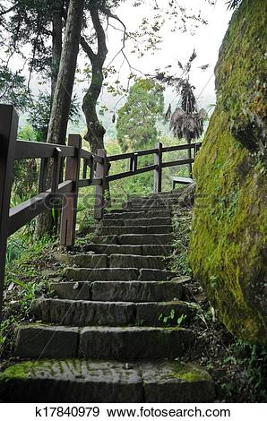 Stock Photograph of Humid and damp old stair climbing steps in.