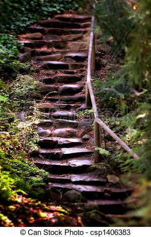 Stock Photos of Old Wet Stone Steps.