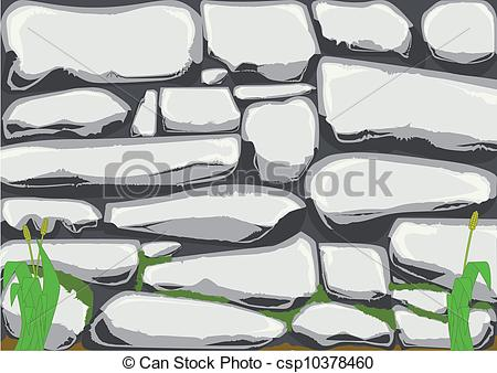 Clip Art Vector of Old Stone Wall.