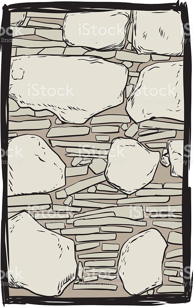 Old Stone Wall Illustration stock vector art 637184506.