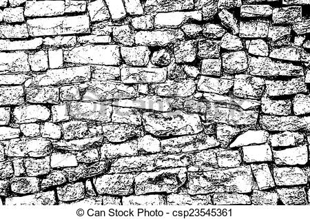 Stone wall drawing clipart.