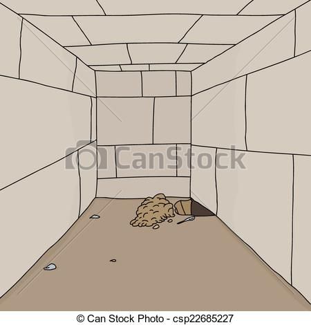 Vector Illustration of Hole in Stone Jail.