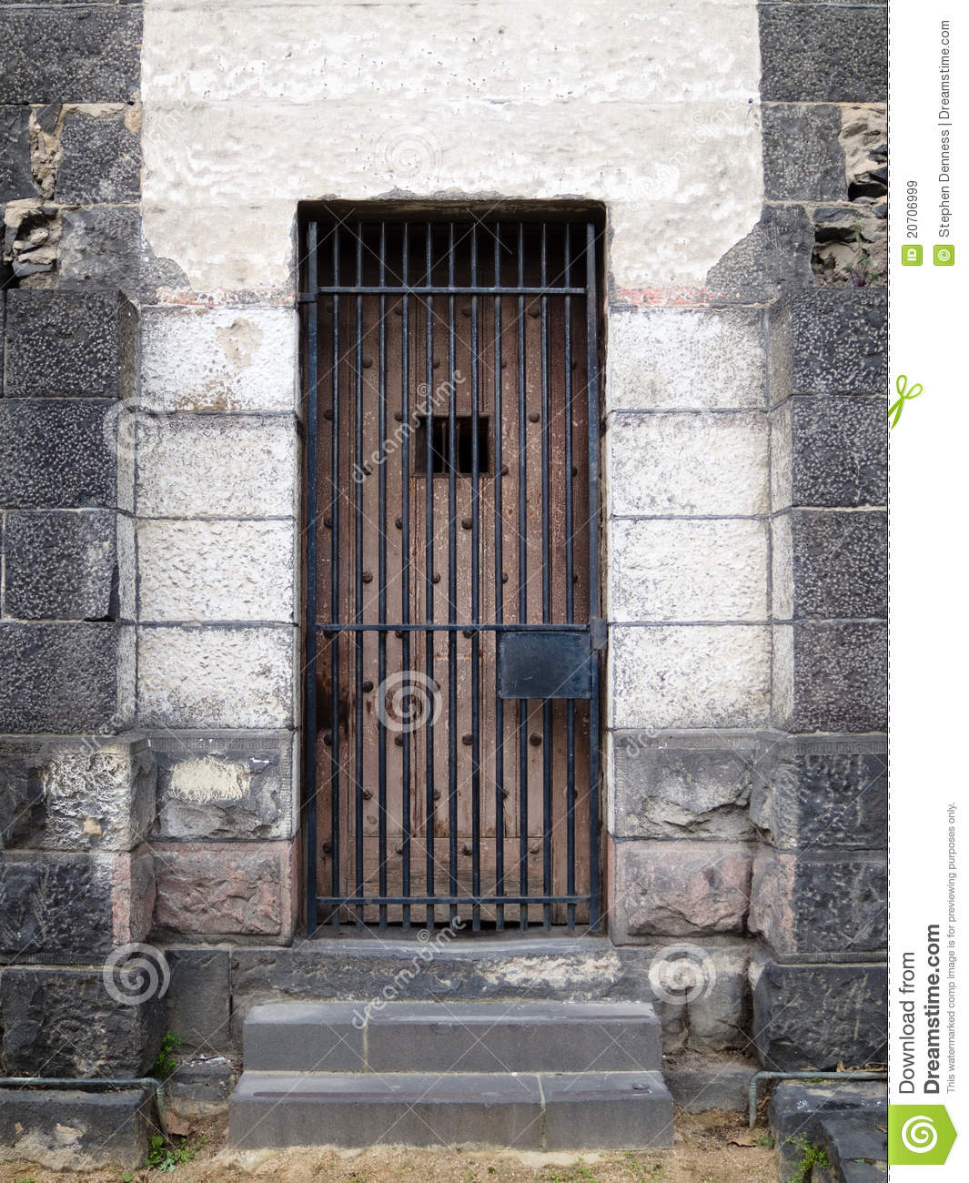 Old Stone Jail Wooden Door With Iron Bars Royalty Free Stock.