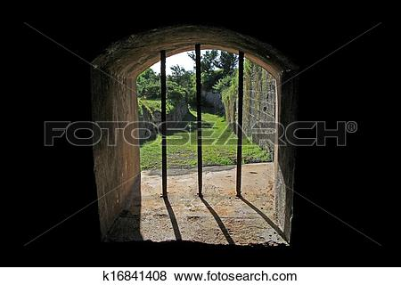 Pictures of Looking through an Old Jail Window k16841408.