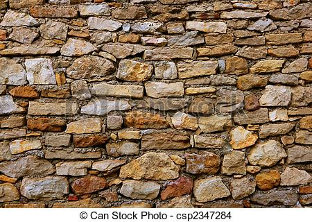 Stock Photo of Masonry in Spain, old stone walls.