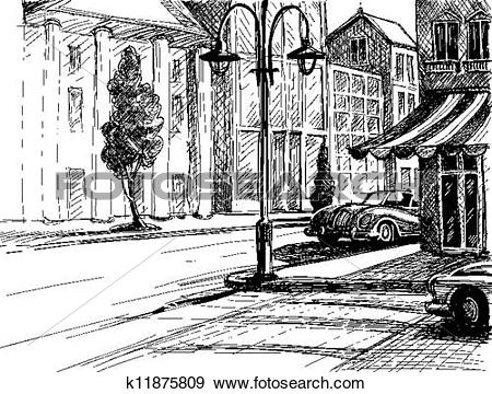 Clip Art of Retro city sketch, street, buildings and old cars.