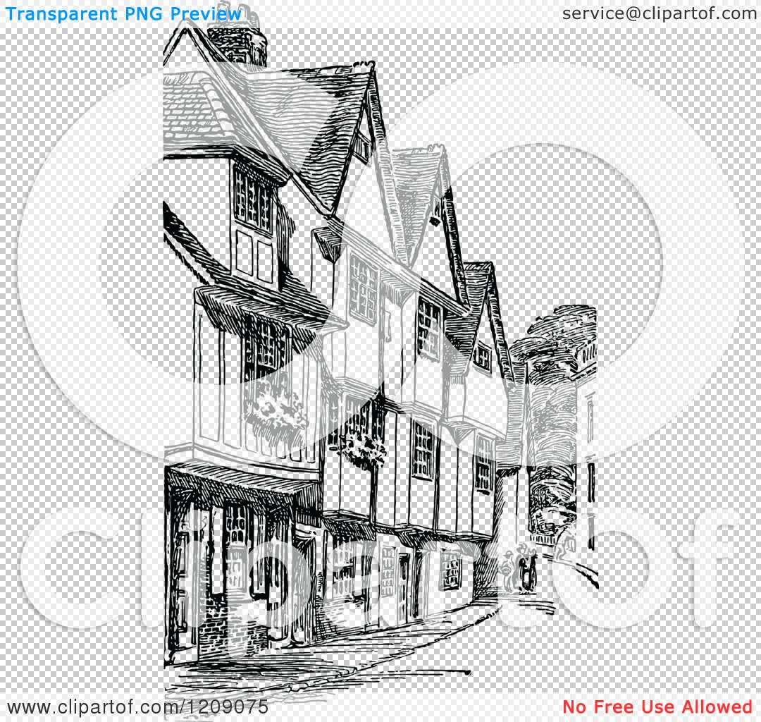 Clipart of Vintage Black and White Old Houses on Silver Street in.