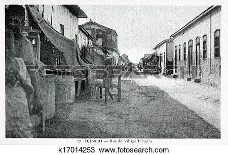 Stock Photo of old postcard of Djibouti, Indian village street.
