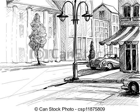 Vector Clipart of Retro city sketch, street, buildings and old.