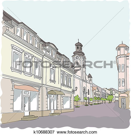 Clip Art of Street in the old town. Vector illustration. k10688307.
