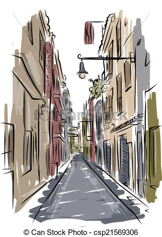 Vector Clipart of Sketch of old spanish street for your design.
